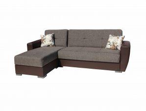 Καναπές-κρεβάτι γωνιακός «TORONTO» υφασμάτινος σε χρώμα καφέ 240x145x90