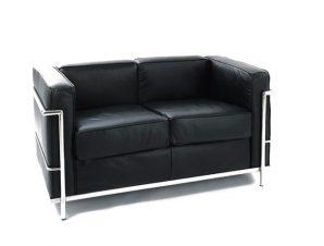 """Καναπές """"GENOVA"""" διθέσιος από pu-inox σε μαύρο χρώμα 130x73x71"""