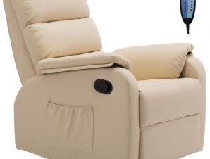 """Πολυθρόνα """"COMFORT"""" massage relax από τεχνόδερμα σε χρώμα μπεζ 79x97x101"""