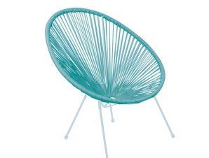 """Πολυθρόνα """"ACAPULCO"""" μεταλλική με rattan σε χρώμα μπλε 74x80x84"""
