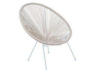 """Πολυθρόνα """"ACAPULCO"""" μεταλλική με rattan σε χρώμα λευκό 74x80x84"""