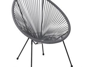 """Πολυθρόνα """"ACAPULCO"""" μεταλλική με rattan σε χρώμα γκρι 73x76x89"""
