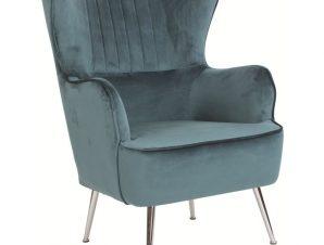 Πολυθρόνα «CROMA» βελούδινη σε μπλε χρώμα 72x78x104