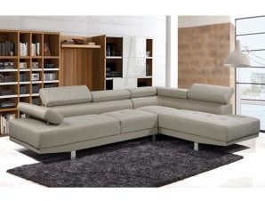 """Καναπές αριστερή γωνία """"SECTOR"""" υφασμάτινος σε χρώμα μπεζ 268/196x79x84"""