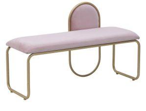 Ταμπουρέ Μεταλλικό Βελούδινο inart 110x40x68εκ. 3-50-358-0025 (Υλικό: Μεταλλικό, Ύφασμα: Βελούδο, Χρώμα: Ροζ) – inart – 3-50-358-0025