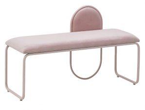 Ταμπουρέ Ροζ Μέταλλο/Βελούδο 110x40x68cm 3-50-358-0028