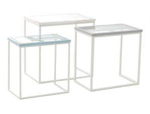 S/3 Τραπέζι Παράθυρο Ξύλινο Αντικέ Γαλάζιο/Λευκό 60x40x58cm