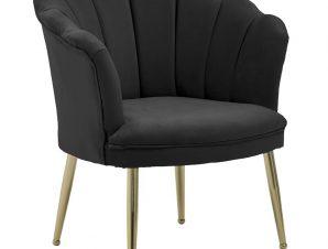 Πολυθρόνα Βελούδινη Μαύρη inart 78x61x81/44εκ. 3-50-777-0014 (Ύφασμα: Βελούδο, Χρώμα: Μαύρο) – inart – 3-50-777-0014