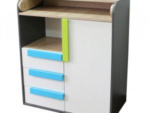 Συρταριέρα «ALEX» σε χρώμα γραφίτη-σονόμα-λευκό 84x37x94
