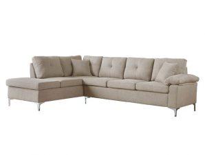 Καναπές αριστερή γωνία υφασμάτινος σε μπεζ χρώμα 282x197x90