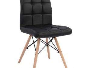 """Καρέκλα """"ROSA"""" από ξύλο/PU σε χρώμα μαύρο 42x54x81"""