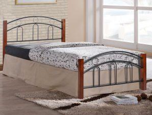 Κρεβάτι ημίδιπλο ξύλινο/μεταλλικό σε χρώμα καφέ/μαύρο 113x201x90