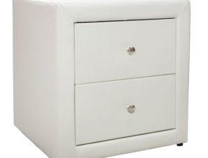 """Κομοδίνο """"MONE"""" από PU σε χρώμα λευκό ματ 48x41x50"""