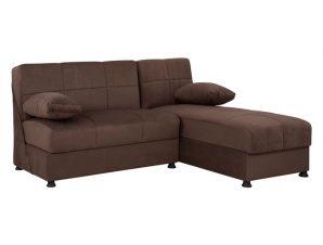 Καναπές «EGE » γωνιακός από ύφασμα σε χρώμα καφέ 188x145x84
