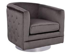 Πολυθρόνα από ύφασμα βελούδο σε χρώμα γκρι/ασημί 80x80x76