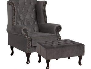"""Πολυθρόνα με υποπόδιο """"T.CHESTERFIELD"""" υφασμάτινη σε χρώμα γκρι 83x79x104"""
