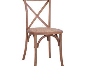 """Καρέκλα χιαστί """"OWEN"""" ξύλινη σε χρώμα μελί 45×55,5×90"""