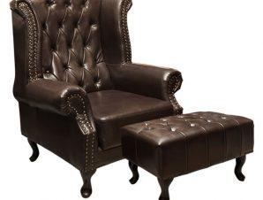 """Σετ πολυθρόνα με υποπόδιο """"POLINA"""" από PU σε χρώμα σκούρο καφέ 83x75x107"""