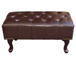 """Ταμπουρέ-υποπόδιο """"EMMA"""" από ξύλο/PU σε χρώμα σκούρο καφέ 80x46x42"""