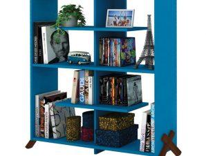 """Βιβλιοθήκη """"KIPP"""" σε χρώμα μπλε/καρυδί 113x28x115"""