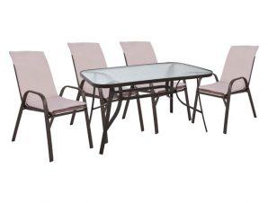Σετ εξωτερικού χώρου 5τμχ με μαξιλάρια από μέταλλο-textilene σε καφέ χρώμα 140x80x72