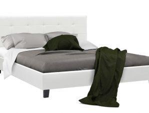 Κρεβάτι «DESI» διπλό με τεχνόδερμα σε χρώμα λευκό ματ 170x216x96