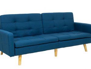 Καναπές-κρεβάτι «FLEXIBLE» από ύφασμα σε χρώμα μπλε 200x87x82