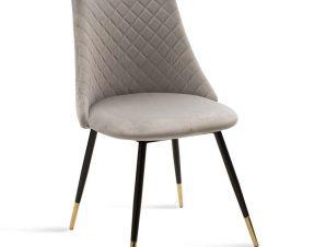 """Καρέκλα """"GISELLE"""" μεταλλική-ύφασμα βελουτό σε χρώμα μαύρο-γκρι 52x51x82"""