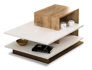 Τραπέζι σαλονιού σε χρώμα καρυδί-λευκό 85x60x43.5