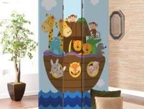 Ζωάκια Σε Βάρκα Παιδικά Παραβάν 80×180 cm [Δίφυλλο]