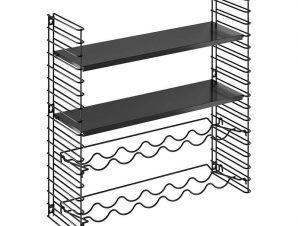Ραφιέρα Επιτοίχια 2 Όροφη-Μπουκαλοθήκη Μεταλλική Libro 70x21x68εκ. Metaltex (Υλικό: Μεταλλικό) – METALTEX – 377623