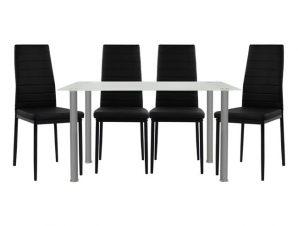 Σετ Τραπεζαρία 5τμχ Με Γυάλινο Τραπέζι Και Καρέκλες Μαύρες 120x70x75εκ. Freebox FB910061.02 (Υλικό: Μεταλλικό, Χρώμα: Μαύρο) – Freebox – FB910061.02