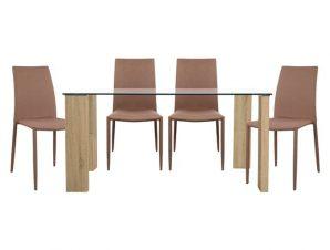 Σετ Τραπεζαρία 5τμχ Με Γυάλινο Τραπέζι Και Καρέκλες Καπουτσίνο 140×80εκ. FB910026.03 (Υλικό: Ξύλο, Χρώμα: Καπουτσίνο) – Freebox – FB910026.03