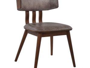 Καρέκλα Τραπεζαρίας Ξύλινη-PU Γκρι-Καρυδί-Καφέ Freebox 50x55x75,5εκ. FB90190.02 (Υλικό: Ξύλο, Χρώμα: Γκρι) – Freebox – FB90190.02