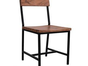 Καρέκλα Μεταλλική-Ξύλινη Από Μασίφ Ξύλο Ακακίας Μαύρο-Καφέ 45,5×43,5×85,5Υεκ. Freebox FB98179 (Υλικό: Ξύλο, Χρώμα: Μαύρο) – Freebox – FB98179