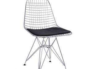 Καρέκλα Μεταλλική Με Μαξιλάρι Pu Χρωμίου-Μαύρη 49x52x85,5εκ. FB98230.100 (Υλικό: Μεταλλικό, Χρώμα: Μαύρο) – Freebox – FB98230.100
