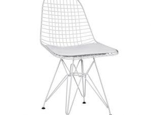 Καρέκλα Μεταλλική Με Μαξιλάρι Λευκή 49x52x85,5εκ. Freebox FB98230.01 (Υλικό: Μεταλλικό, Χρώμα: Λευκό) – Freebox – FB98230.01