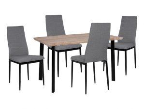 Σετ Τραπεζαρίας 5τμχ Με Ξύλινο-Μεταλλικό Τραπέζι 110x70x75,5εκ. Και 4 Καρέκλες Γκρι-Sonama-Μαύρο Freebox FB910355 (Υλικό: Μεταλλικό, Χρώμα: Μαύρο) – Freebox – FB910355