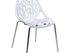Καρέκλα Μεταλλική-Πολυπροπυλενίου Λευκό-Χρωμίου 54x57x81εκ. Freebox FB90023.11 (Υλικό: Μεταλλικό, Χρώμα: Λευκό) – Freebox – FB90023.11