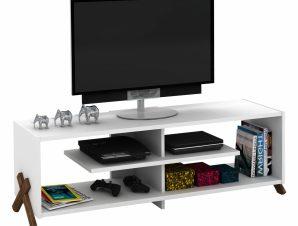 Έπιπλο Τηλεόρασης Μελαμίνης Λευκό-Καρυδί 145x31x39εκ. Freebox FB92243.17 (Υλικό: Μελαμίνη, Χρώμα: Λευκό) – Freebox – FB92243.17