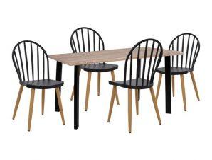 Σετ Τραπεζαρίας 5τμχ Με Ξύλινο Τραπέζι 110x70x75,5εκ. Και Καρέκλες Sonama-Μαύρες Freebox FB911020 (Υλικό: Μεταλλικό, Χρώμα: Μαύρο) – Freebox – FB911020