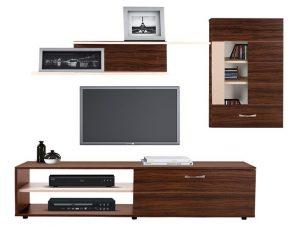 Σύνθεση Τηλεόρασης Μελαμίνης 160×35,5×43εκ. Με Ντουλάπι 56,5×27,5×90εκ. Καρυδί-Μπεζ Freebox FB92320.03 (Υλικό: Μελαμίνη, Χρώμα: Μπεζ) – Freebox – FB92320.03