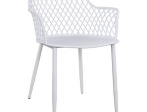 Πολυθρόνα Πολυπροπυλενίου Λευκό Με Μεταλλικά Πόδια 62×55,5×79εκ. Freebox FB98510.01 (Υλικό: Μεταλλικό, Χρώμα: Λευκό) – Freebox – FB98510.01