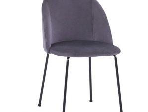 Καρέκλα Βελούδινη Γκρι Με Μεταλλικά Πόδια Μαύρα 50x54x79Υεκ. Freebox FB98545.01 (Υλικό: Μεταλλικό, Ύφασμα: Βελούδο, Χρώμα: Γκρι) – Freebox – FB98545.01