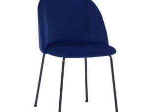 Καρέκλα Βελούδινη Μπλε Με Μεταλλικά Πόδια Μαύρα 50x54x79Υεκ.Freebox FB98545.08 (Υλικό: Μεταλλικό, Ύφασμα: Βελούδο, Χρώμα: Μπλε) – Freebox – FB98545.08