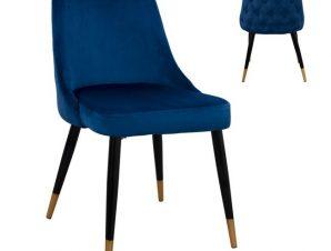 Καρέκλα Βελούδινη Μπλε Με Μεταλλικό Σκελετό 51x58x83Υεκ. Freebox FB98527.08 (Υλικό: Μεταλλικό, Ύφασμα: Βελούδο, Χρώμα: Μπλε) – Freebox – FB98527.08