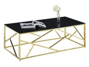 Τραπέζι Σαλονιού Με Μαύρο Γυαλί Και Επίχρυση Βάση 120x60x45εκ. Freebox FB98617.02 (Υλικό: Μεταλλικό, Χρώμα: Μαύρο) – Freebox – FB98617.02