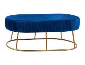 Σκαμπώ-Παγκάκι Βελούδινο Μπλε Με Μεταλλική Χρυσή Βάση 118x64x40,5Yεκ. Freebox FB98635.08 (Υλικό: Μεταλλικό, Ύφασμα: Βελούδο, Χρώμα: Μπλε) – Freebox – FB98635.08