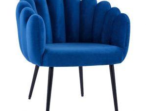 Πολυθρόνα Βελούδινη Μπλε Με Μεταλλικά Μαύρα Πόδια 70x70x76Yεκ. Freebox FB98631.08 (Υλικό: Μεταλλικό, Ύφασμα: Βελούδο, Χρώμα: Μαύρο) – Freebox – FB98631.08