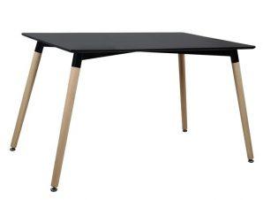 Τραπέζι Mdf Μαύρο Με Ξύλινα Πόδια Οξιά 160x90x74εκ. Freebox FB98697.02 (Υλικό: Mdf, Χρώμα: Μαύρο) – Freebox – FB98697.02